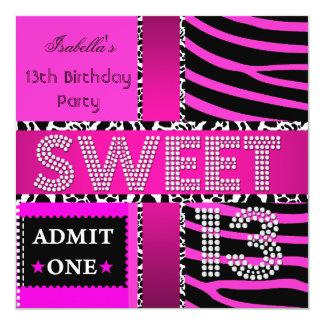 Sweet 13 13th Birthday Zebra Cow Hot Pink Black Invitation