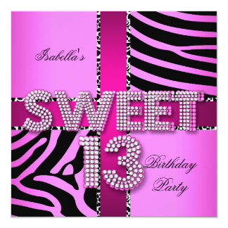 Sweet 13 13th Birthday Zebra Cow Pink Black Card