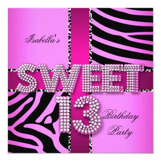Sweet 13 13th Birthday Zebra Cow Pink Black Announcements