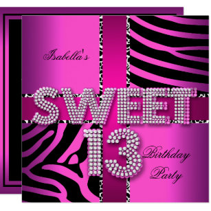 13th birthday invitations zazzle sweet 13 13th birthday zebra cow pink black invitation filmwisefo