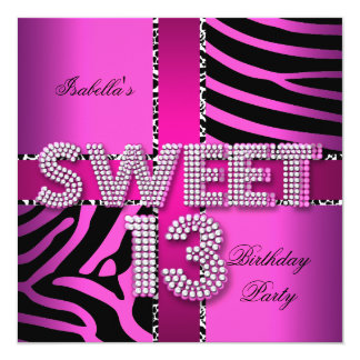 Sweet 13 13th Birthday Zebra Cow Pink Black Personalized Invitations