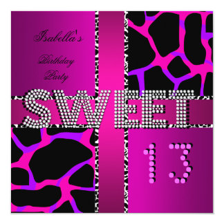 Sweet 13 13th Birthday Zebra Cow Pink Purple Card