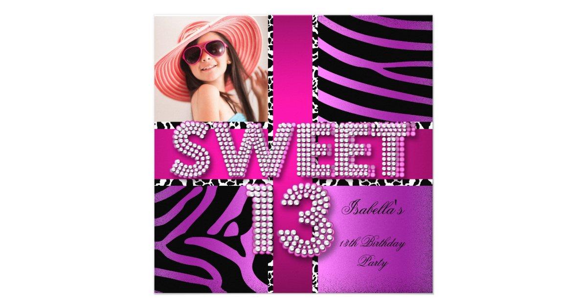 Sweet 13 13th Birthday Zebra Cow Pink Purple Invitation