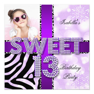 Sweet 13 13th Birthday Zebra Cow Purple Black 5.25x5.25 Square Paper Invitation Card