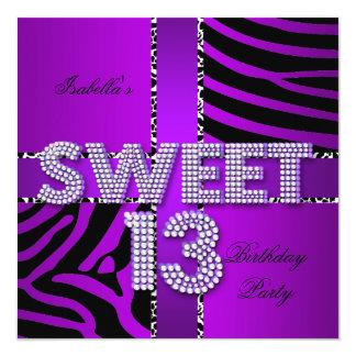 Sweet 13 13th Birthday Zebra Cow Purple Black Personalized Invitations