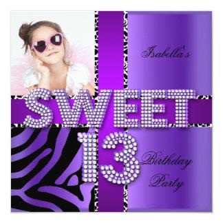Sweet 13 13th Birthday Zebra Cow Purple Black Custom Invites