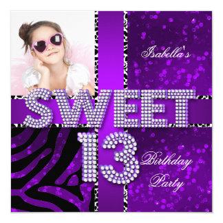 Sweet 13 13th Birthday Zebra Glitter Purple Black Invitation