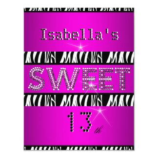 Sweet 13 13th Birthday Zebra Hot Pink Black Personalized Invitation
