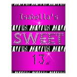 Sweet 13 13th Birthday Zebra Hot Pink Black 4.25x5.5 Paper Invitation Card