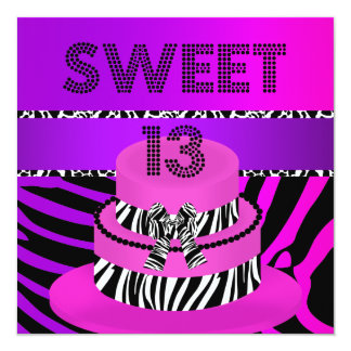 Sweet 13 13th Birthday Zebra Purple Pink Cake Card