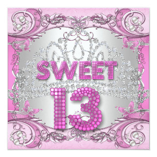 Sweet 13 13th Pink Silver Tiara Birthday Party 2 Card