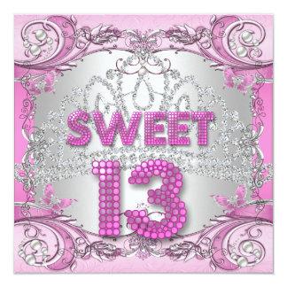 Sweet 13 13th Pink Silver Tiara Birthday Party 2 Invitation