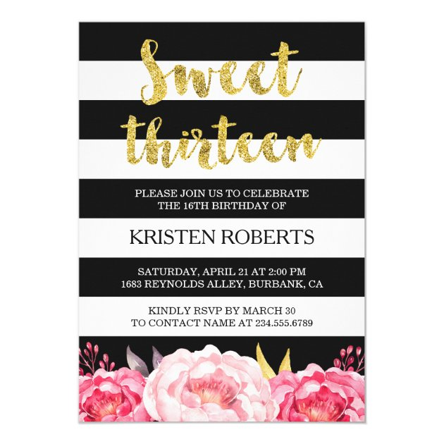 Personalized black white stripes invitations custominvitations4u sweet 13 birthday floral gold black white stripes card stopboris Image collections