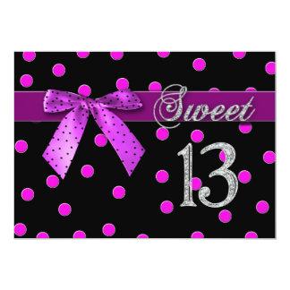 SWEET 13 BIRTHDAY PARTY INVITATION - FUCHSIA POLKA INVITE