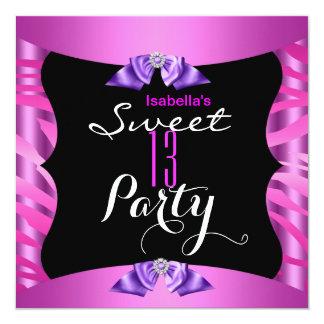 Sweet 13 Cute Purple Pink Zebra Black Birthday 5.25x5.25 Square Paper Invitation Card
