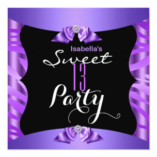 Sweet 13 Cute Purple Zebra Black Birthday Party 4 Card