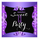 Sweet 13 Cute Purple Zebra Black Birthday Party 4 Personalized Invitation