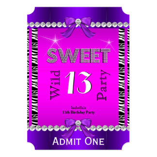 Sweet 13 Fun Party Zebra Pink Purple Ticket 4 Personalized Announcements