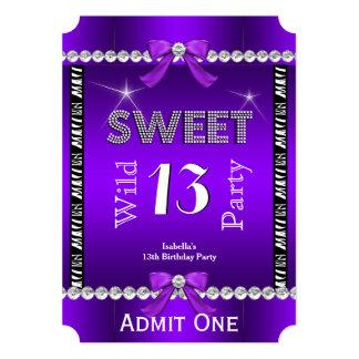 Sweet 13 Fun Party Zebra Purple Ticket 3 5x7 Paper Invitation Card