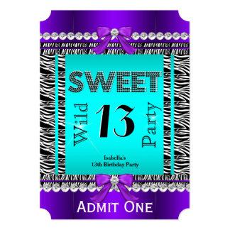 Sweet 13 Fun Party Zebra Teal Blue Purple Ticket 2 Card