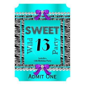 Sweet 13 Fun Party Zebra Teal Blue Purple Ticket Card