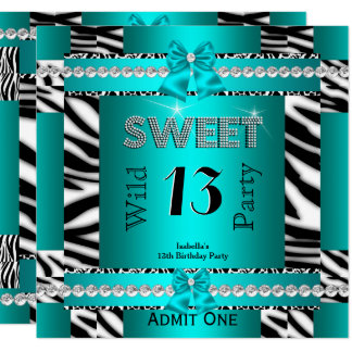 Sweet 13 Fun Party Zebra Teal Blue Ticket 3S Card