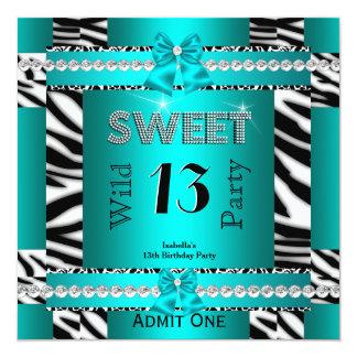 Sweet 13 Fun Party Zebra Teal Blue Ticket 3S Invitation
