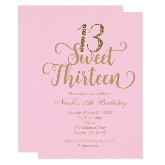 Sweet 13 Pink Gold Birthday Party Invitations