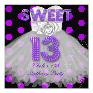 Sweet 13th Birthday Party Girls 13 Teen Purple Invitation