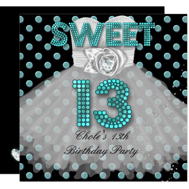Sweet 13th Birthday Party Girls 13 Teen Teal Blue Card ...