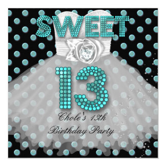 Sweet 13th Birthday Party Girls 13 Teen Teal Blue 5.25x5.25 Square Paper Invitation Card