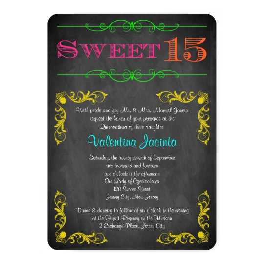 sweet 15 birthday invitation neon chalkboard