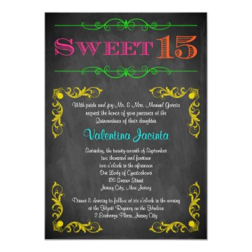 Sweet 15 Birthday Invitation | Neon Chalkboard