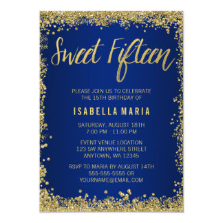 Sweet 15 Blue Gold Glitter Quinceanera Birthday Card