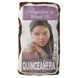 Sweet 15 Quinceanera Photo Birthday Party lavender Brownie