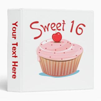 Sweet 16 16th Birthday Cupcake 3 Ring Binder