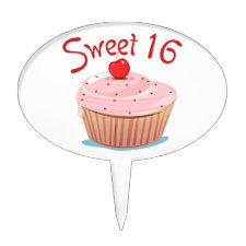 Sweet 16 16th Birthday Cupcake Cake Toppers