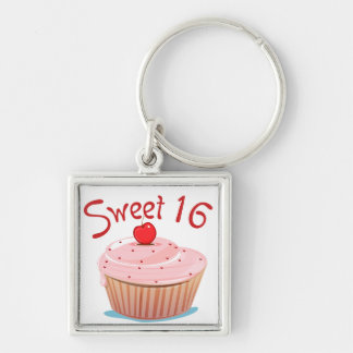 Sweet 16 16th Birthday Cupcake Silver-Colored Square Keychain