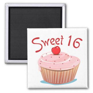 Sweet 16 16th Birthday Cupcake Refrigerator Magnet