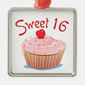 Sweet 16 16th Birthday Cupcake Metal Ornament