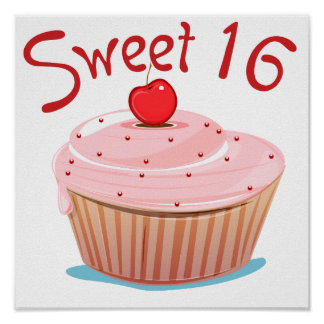 Sweet 16 16th Birthday Cupcake Poster