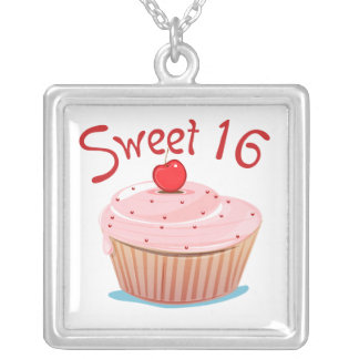 Sweet 16 16th Birthday Cupcake Square Pendant Necklace
