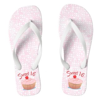 Sweet 16 16th Birthday Flip Flops