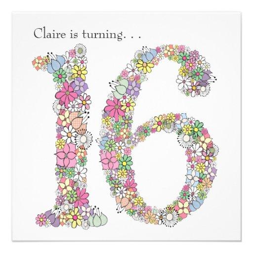 Sweet 16 16th Birthday Party Custom Invitation