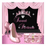 Sweet 16 16th Birthday Pink Black White Custom Announcements