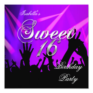 Sweet 16 16th Birthday Purple Rave Dance Party Card