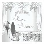 Sweet 16 16th Birthday Silver White Custom Invites