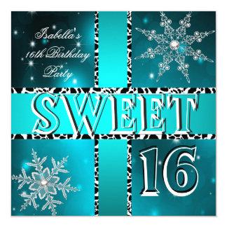 Sweet 16 16th Birthday Teal Winter Wonderland Card