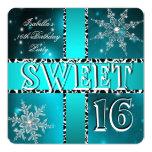 Sweet 16 16th Birthday Teal Winter Wonderland Invitation