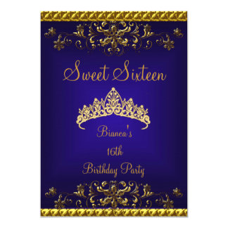 Sweet 16 16th Deep Blue Gold Diamond Tiara 5x7 Paper Invitation Card